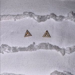 Gold and jewel triangle earrings